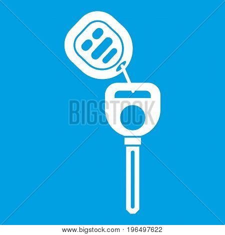 Car key with remote control icon white isolated on blue background vector illustration
