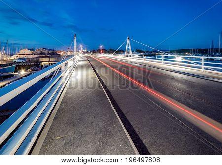 Bridge over the River Yar at night. Yarmouth, Isle of Wight, UK.