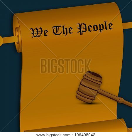 illustration of paper and gavel on the occasion of USA Constitution Day