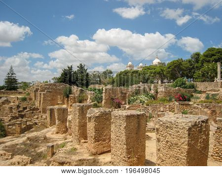 Ruins of an ancient settlement in the desert of Tunisia. The cultural heritage of North Africa