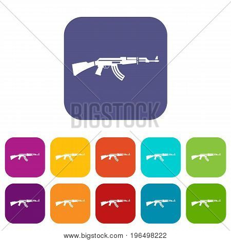 Military rifle icons set vector illustration in flat style in colors red, blue, green, and other