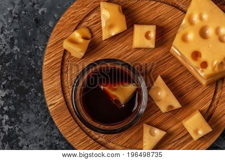 Cheese On Cutting Board.