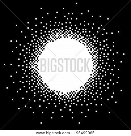 Pixel art banner with place and space to insert your text or image. Black and white abstract vector.