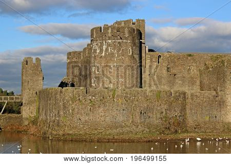 external walls and towers of Caerphilly Castle, Wales