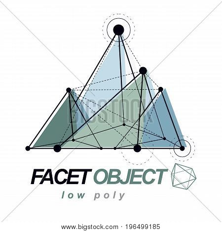Abstract vector 3d geometric low poly object. Technology and science conceptual logo.