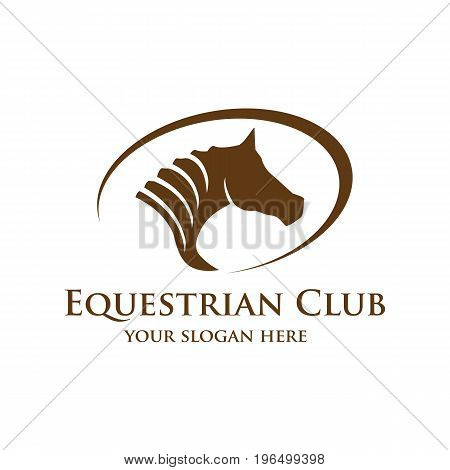 stylish horse head logo within an outline of oval. isolated on white background.