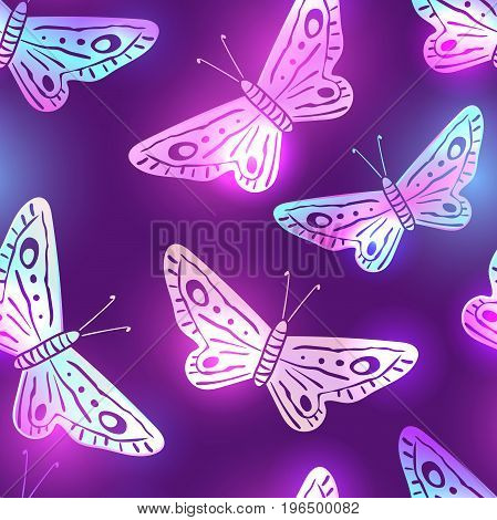 Elegant dark violet seamless pattern with neon shining butterflies. Summer night background with white pink and blue fluorescent moths. Textile clothing phone case t-shirt product package design