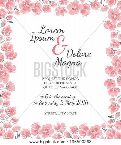 Invitation wedding card with cherry sakura flowers vector template - for invitations, flyers, postcards, cards and so on