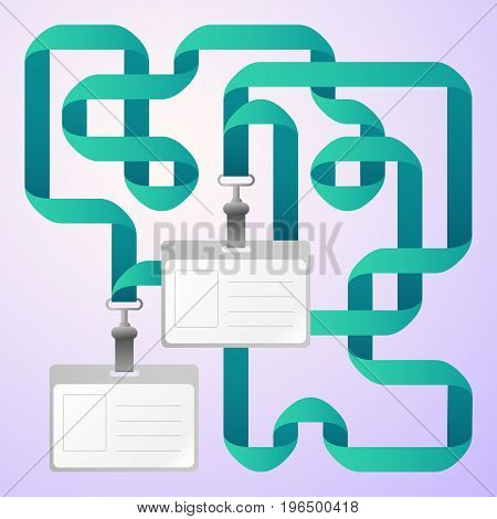 Two flat design blank identification cards badges with blue ribbons on light grey background vector illustration