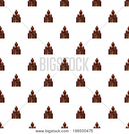 Castle pattern seamless repeat in cartoon style vector illustration