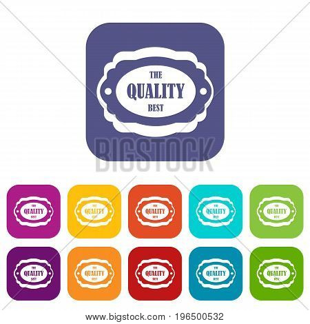 The quality best label icons set vector illustration in flat style in colors red, blue, green, and other