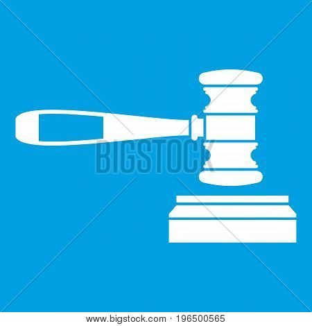 Judge gavel icon white isolated on blue background vector illustration