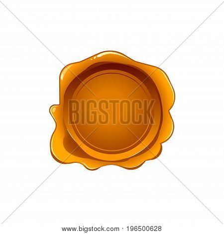 Gold wax seal isolated on white background. Vector stamp. Realistic golden label for letter document.
