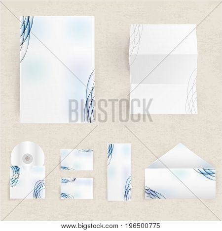 Blank corporate identity set of envelopes cards and paper with blue lines and spots pattern isolated on grey background flat vector illustration