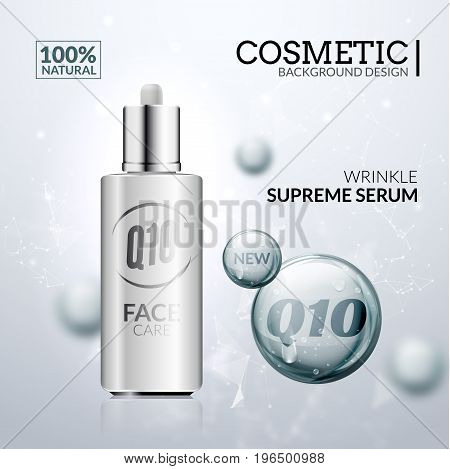 Cosmetic collagen solution. Skin care serum essence design. Hyaluronic treatment for face beauty.