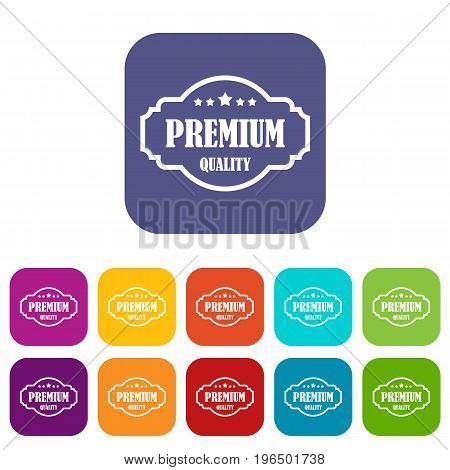 Premium quality label icons set vector illustration in flat style in colors red, blue, green, and other