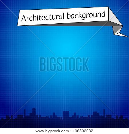 Achitectural blue background with dark cityscape at bottom and text field flat vector illustration