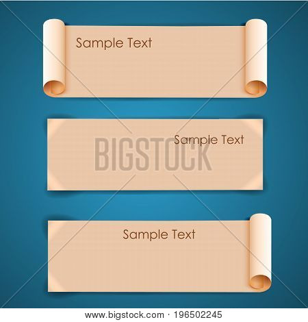 Horizontal architectural blank beige sheets of paper banners set with sample text on blue background isolated realistic vector illustration