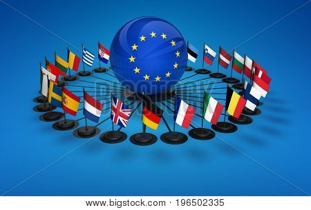 EU flags and international business relations network in European Union conceptual 3D illustration.