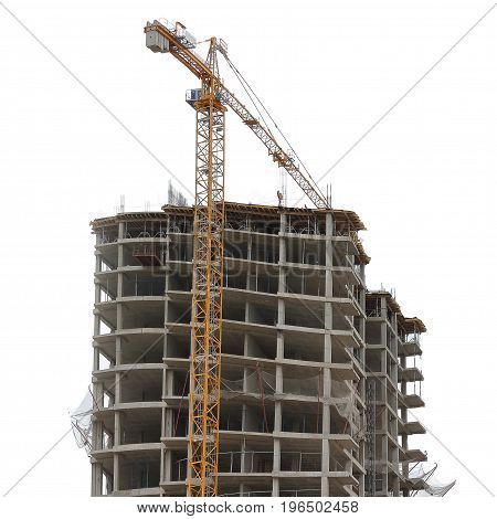 Construction of multi-storey monolithic house and industrial building crane isolated on white background. Concept of construction.