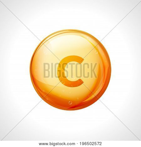 Vitamin C golden vector treatment. Vitamin gold oil pill icon. Skin care natural nutrition. Ascorbic antioxidant acid drop. Orange medicine capsule. poster