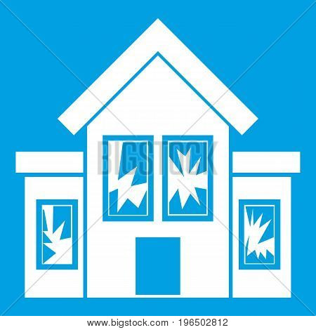 House with broken windows icon white isolated on blue background vector illustration