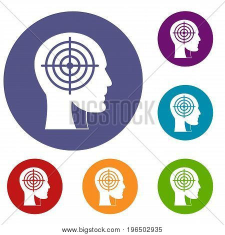 Crosshair in human head icons set in flat circle red, blue and green color for web