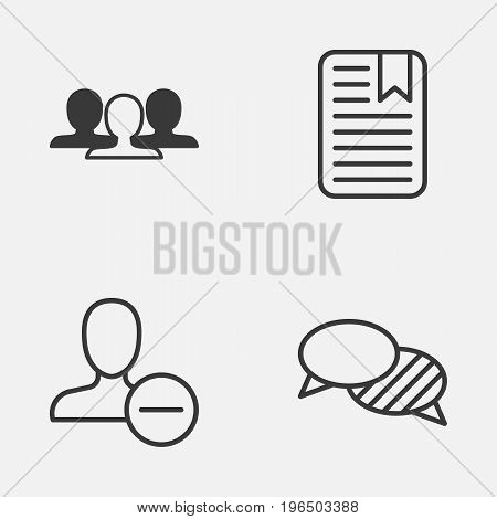 Social Icons Set. Collection Of Speaking, Note Page, Group And Other Elements