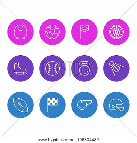 Editable Pack Of Touchdown, Weight, Skipping Rope And Other Elements. Vector Illustration Of 12 Fitness Icons.
