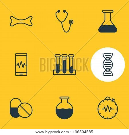 Editable Pack Of Pressure Gauge, Pulse, Phone Monitor And Other Elements. Vector Illustration Of 9 Medical Icons.