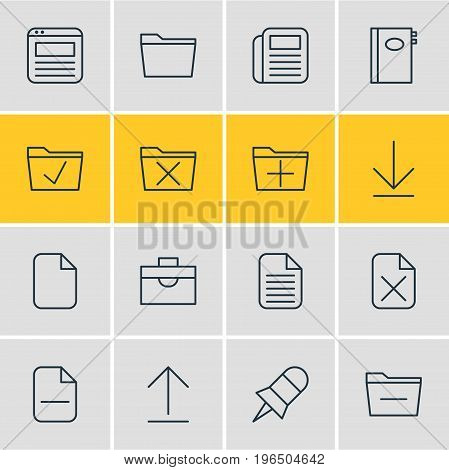 Editable Pack Of Install, Delete, Document And Other Elements. Vector Illustration Of 16 Workplace Icons.