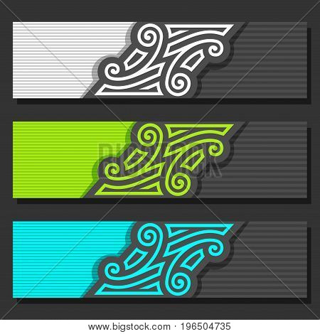 Vector set of Banner templates: 3 black and white headers with monogram on gray background, three horizontal web banners with vintage design for business text, layouts banners vivid wedding invitation