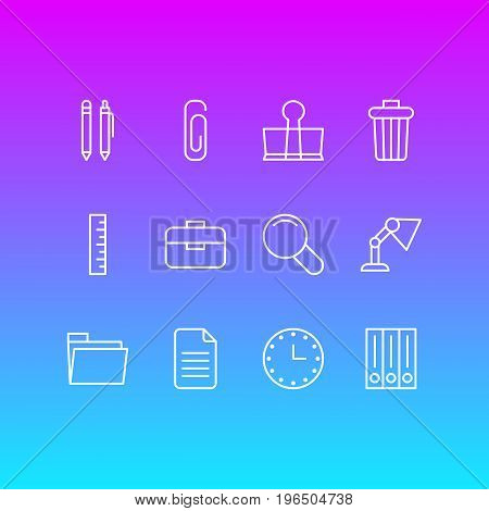 Vector Illustration Of 12 Instruments Icons. Editable Pack Of Meter, Paperclip, Illuminator And Other Elements.