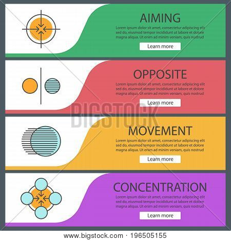 Abstract symbols web banner templates set. Aiming, opposite, movement, concentration concepts. Website color menu items. Vector headers design concepts