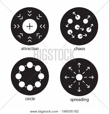 Abstract symbols glyph icons set. Attraction, chaos, circle, spreading concepts. Vector white silhouettes illustrations in black circles