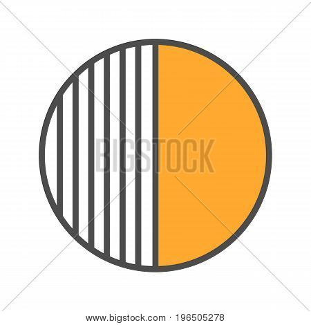 Half color icon. Half hatched abstract metaphor. Isolated vector illustration