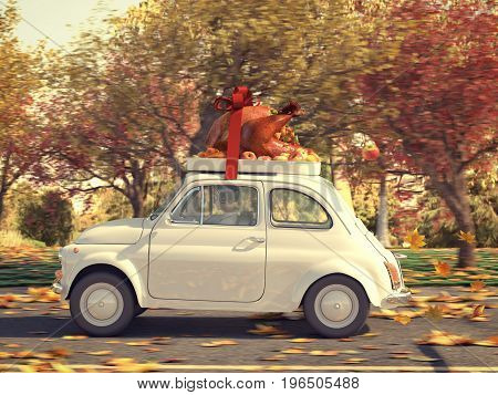 3d rendering. woman driving with big turkey on car roof.