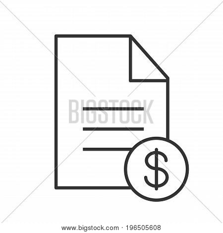 Contract linear icon. Business agreement. Thin line illustration. Document with dollar contour symbol. Vector isolated outline drawing