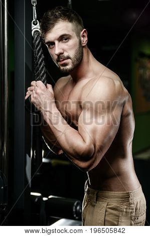Handsome Fitness Model Train In The Gym Gain Muscle