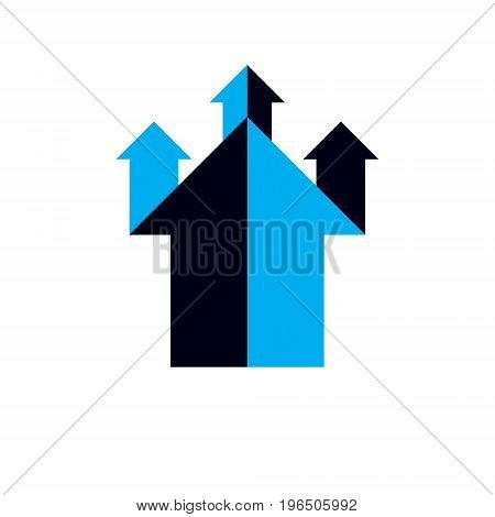 Vector upward trend of business development. Corporate abstract logo boost up arrow isolated on white background. Company increasing concept.