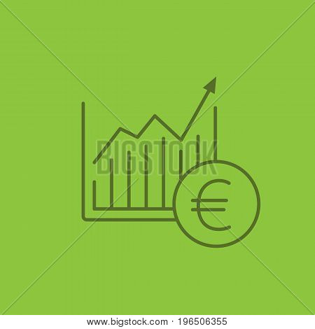 Market growth chart color linear icon. Statistics diagram with euro sign. Thin line outline symbols on color background. Vector illustration