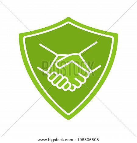 Safe bargain glyph color icon. Protection shield with handshake. Silhouette symbol on white background. Negative space. Vector illustration