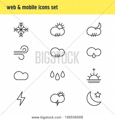 Vector Illustration Of 12 Weather Icons. Editable Pack Of Lightning, Crescent, Rainy And Other Elements.