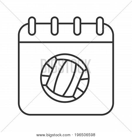 Volleyball championship date linear icon. Thin line illustration. Calendar page with volleyball ball contour symbol. Vector isolated outline drawing