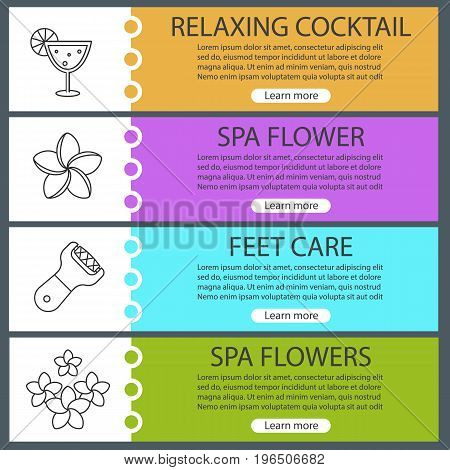 Spa salon web banner templates set. Cocktail, plumeria flowers, foot rasp. Website color menu items with linear icons. Vector headers design concepts