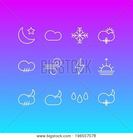 Vector Illustration Of 12 Atmosphere Icons. Editable Pack Of Sunset, Crescent, Cloudy And Other Elements.
