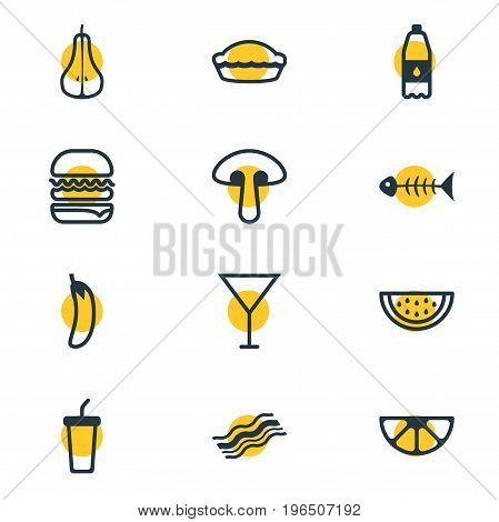 Editable Pack Of Fungus, Skeleton, Filtered Water And Other Elements. Vector Illustration Of 12 Eating Icons.