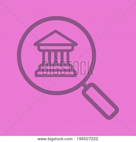 Bank search color linear icon. Magnifying glass with bank building. Thick line outline symbols on color background. Vector illustration