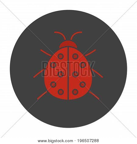 Ladybug glyph color icon. Ladybird. Silhouette symbol on black background. Negative space. Vector illustration