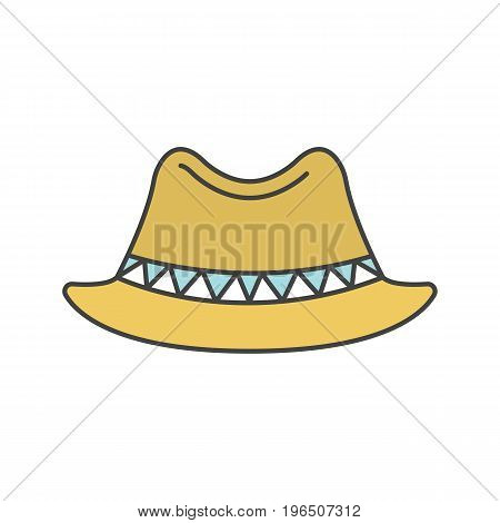 875745e858d22 Homburg hat color icon. Classic men s hat. Isolated vector illustration